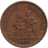 "Монета 1 франк. 1924 год, Франция. (Открытая ""4"")"