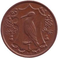 Хохлатый баклан. Монета 1 пенни. 1987 год, Остров Мэн. (AA)