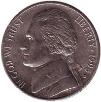 Джефферсон. Монтичелло. Монета 5 центов. 1995 год (D), США.