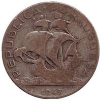 Парусник. Монета 2,5 эскудо. 1945 год, Португалия.