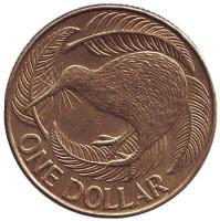 Киви (птица). Монета 1 доллар. 2010 год, Новая Зеландия.