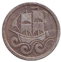 Монета 1/2 гульдена. 1923 год, Данциг.