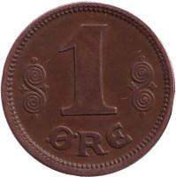 Монета 1 эре. 1922 год, Дания.