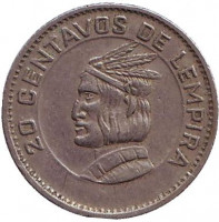 Монета 20 сентаво. 1973 год, Гондурас.