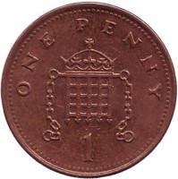 1 пенни. 2001 год, Великобритания.