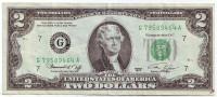 Банкнота 2 доллара. 1976 год, США. Из обращения.