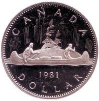 Индейцы в каноэ. Монета 1 доллар. 1981 год, Канада. Proof.