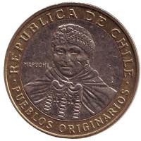 Индеец Мапуче. Монета 100 песо. 2013 год, Чили.