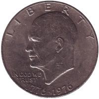 "Дуайт Эйзенхауэр (""лунный доллар""). Монета 1 доллар, 1976 год, США."