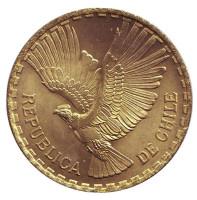 Кондор. Монета 10 чентезимо. 1964 год, Чили. aUNC.