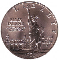 100 лет Статуе Свободы. Монета 1 доллар. 1986 год (P), США.