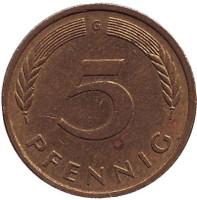 Дубовые листья. Монета 5 пфеннигов. 1978 год (G), ФРГ. (Из обращения).