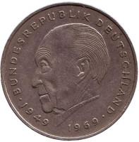 Конрад Аденауэр. Монета 2 марки. 1982 год (F), ФРГ. Из обращения.