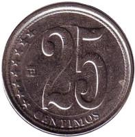 Монета 25 сентимо. 2009 год, Венесуэла.