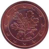 Монета 2 цента. 2004 год (D), Германия.