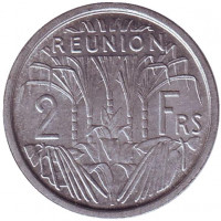 Монета 2 франка. 1971 год, Реюньон.