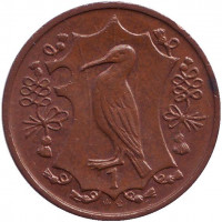 Хохлатый баклан. Монета 1 пенни. 1987 год, Остров Мэн. (AС)