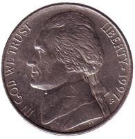 Джефферсон. Монтичелло. Монета 5 центов. 1997 год (P), США.