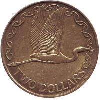Белая цапля. Монета 2 доллара. 2003 год, Новая Зеландия.