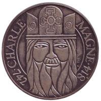 Карл Великий. Монета 100 франков. 1990 год, Франция.