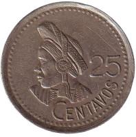 Индианка. Монета 25 сентаво. 1995 год, Гватемала.