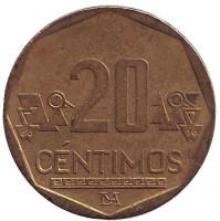 Монета 20 сентимов. 2011 год, Перу.