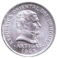 Хосе Артигас. Монета 50 сентимо. 1965 год, Уругвай. UNC.