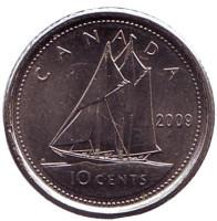 Парусник. Монета 10 центов. 2009 год, Канада.