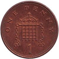 1 пенни. 2002 год, Великобритания.