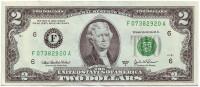 Банкнота 2 доллара. 2003 год, США. Из обращения.