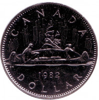 Индейцы в каноэ. Монета 1 доллар. 1982 год, Канада. aUNC.