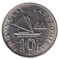 Парусник. Монета 10 франков. 1972 год, Новая Каледония.