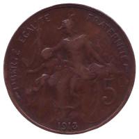 Монета 5 сантимов. 1913 год, Франция.