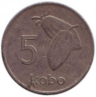 Плоды какао. Монета 5 кобо. 1989 год, Нигерия.