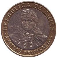 Индеец Мапуче. Монета 100 песо. 2014 год, Чили.