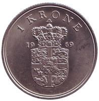 Монета 1 крона. 1969 год, Дания.