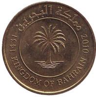 Финиковая пальма. Монета 10 филсов. 2010 год, Бахрейн.