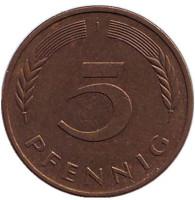Дубовые листья. Монета 5 пфеннигов. 1987 год (J), ФРГ.
