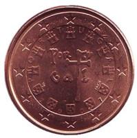 Монета 1 цент. 2007 год, Португалия.