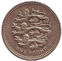 Львы. Монета 1 фунт. 2002 год, Великобритания.