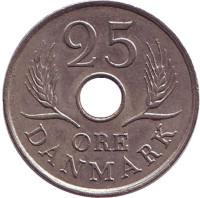 Монета 25 эре. 1972 год, Дания. S;S