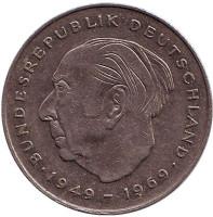 Теодор Хойс. Монета 2 марки. 1983 год (F), ФРГ. Из обращения.