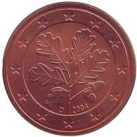 Монета 5 центов. 2004 год (D), Германия.