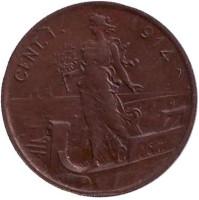 Монето 1 чентезимо. 1914 год, Италия.