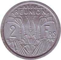 Монета 2 франка. 1973 год, Реюньон.