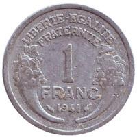 Монета 1 франк. 1941 год, Франция.