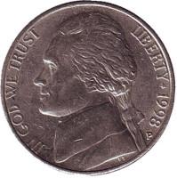 Джефферсон. Монтичелло. Монета 5 центов. 1998 год (P), США.