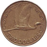 Белая цапля. Монета 2 доллара. 2005 год, Новая Зеландия. Из обращения.