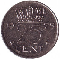 Монета 25 центов. 1978 год, Нидерланды.
