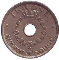 Монета 1 крона. 1949 год, Норвегия.